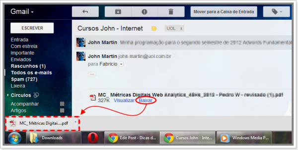 Como salvar anexos no Gmail