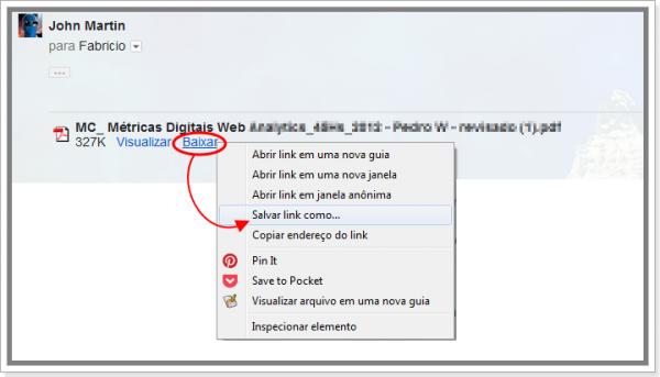 Como salvar arquivos anexos no Gmail