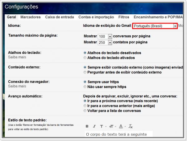 Como trocar idioma para português do Brasil no Gmail
