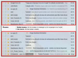 Resumo de mensagens no Gmail