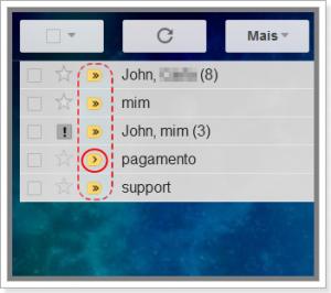 Setas simples e duplas exibem indicadores de mensagens pessoais no Gmail