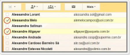 Como selecionar contatos no gmail