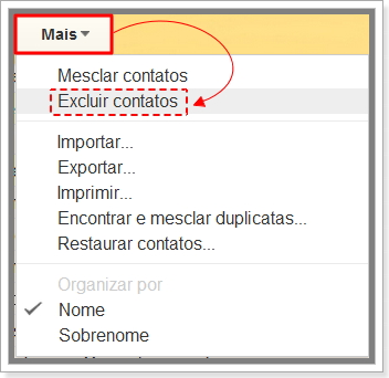Como excluir contatos no Gmail