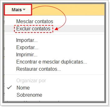 Como excluir contatos no Gmail