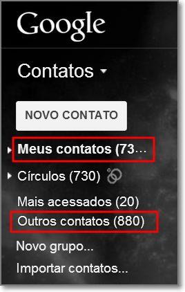 Barra lateral dos contatos do gmail