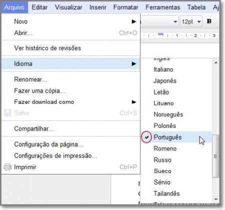 Ser 225 exibida selecione o idioma desejado clicando sobre ele o idioma