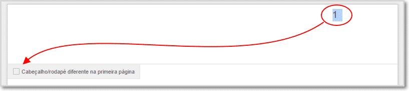remover contagem da pagina 1 google docs