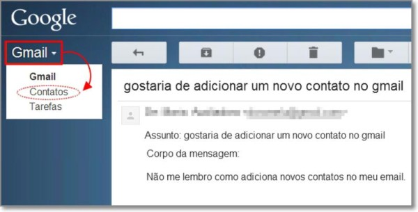 Entrar nos contatos do gmail