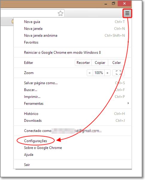 acessar configurações do Chrome