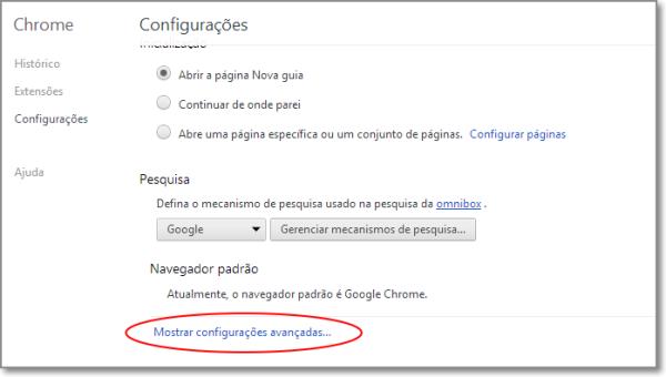 Configurações avançadas do Chrome