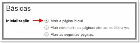 Como definir uma página inicial no Google Chrome