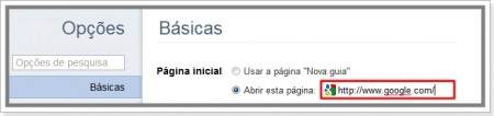 Como definir página inicial do Google Chrome
