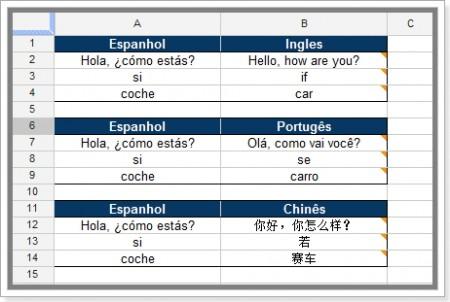 tradução em vários campos no google planilhas