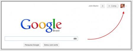 Acessar configurações de usuário na página de busca do Google