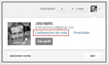 Clique em configurações para desativar o Instant Search