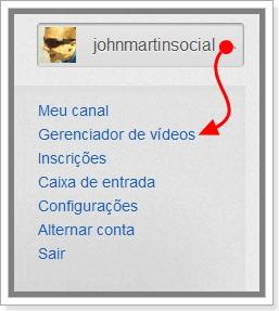 Imagem de como entrar no gerenciador de vídeos do youtube
