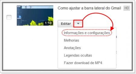 Imagem da página de Informações e configurações do vídeo no youtube