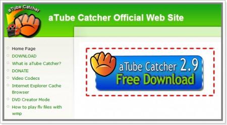 Imagem deDownload do aTube Catcher na página do desenvolvedor