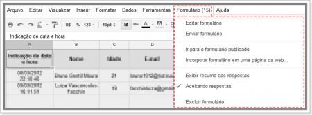 Imagem do Menu Formulário no Google Planilhas