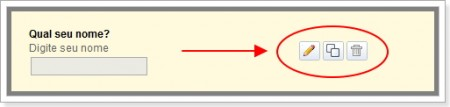 Imagem de como usar os botões de opções do campo de dúvida do formulário