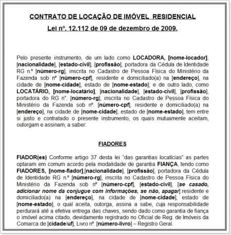 Modelo De Contrato De Locação Residencial Com Valor Cheio
