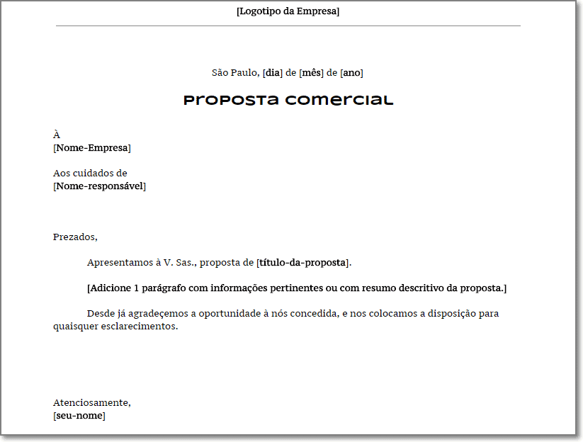 Modelo De Proposta Comercial Com Carta De Apresenta 231 227 O Em