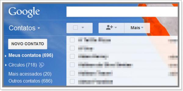 Gerenciador de contatos do Gmail