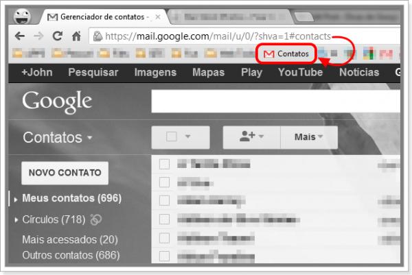 Adicione o Gerenciador de Contatos do Gmail aos seus favoritos