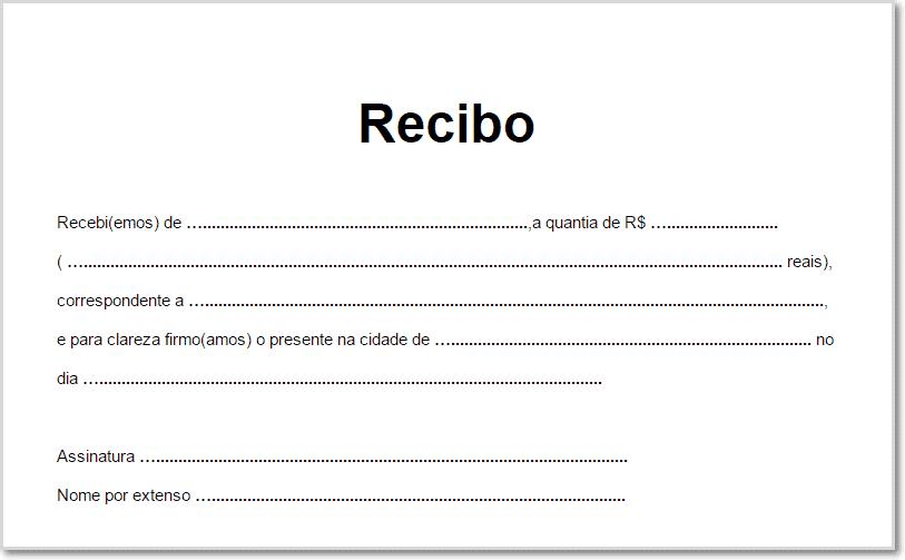 modelo de recibo simples para impressão