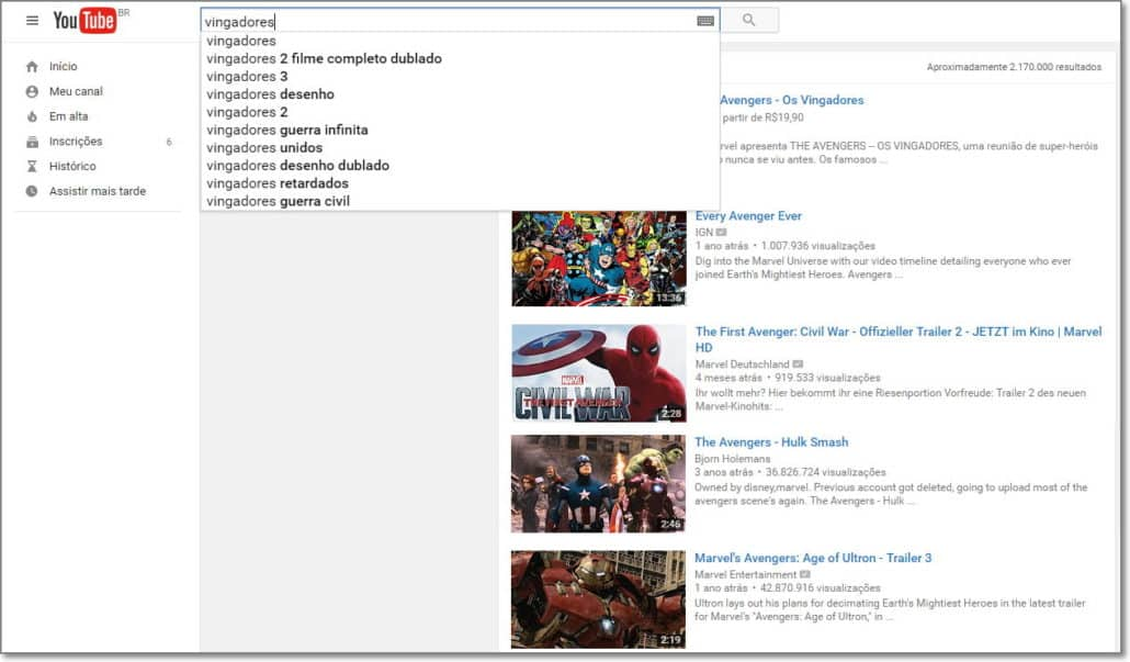 Youtube Buscador Vertical