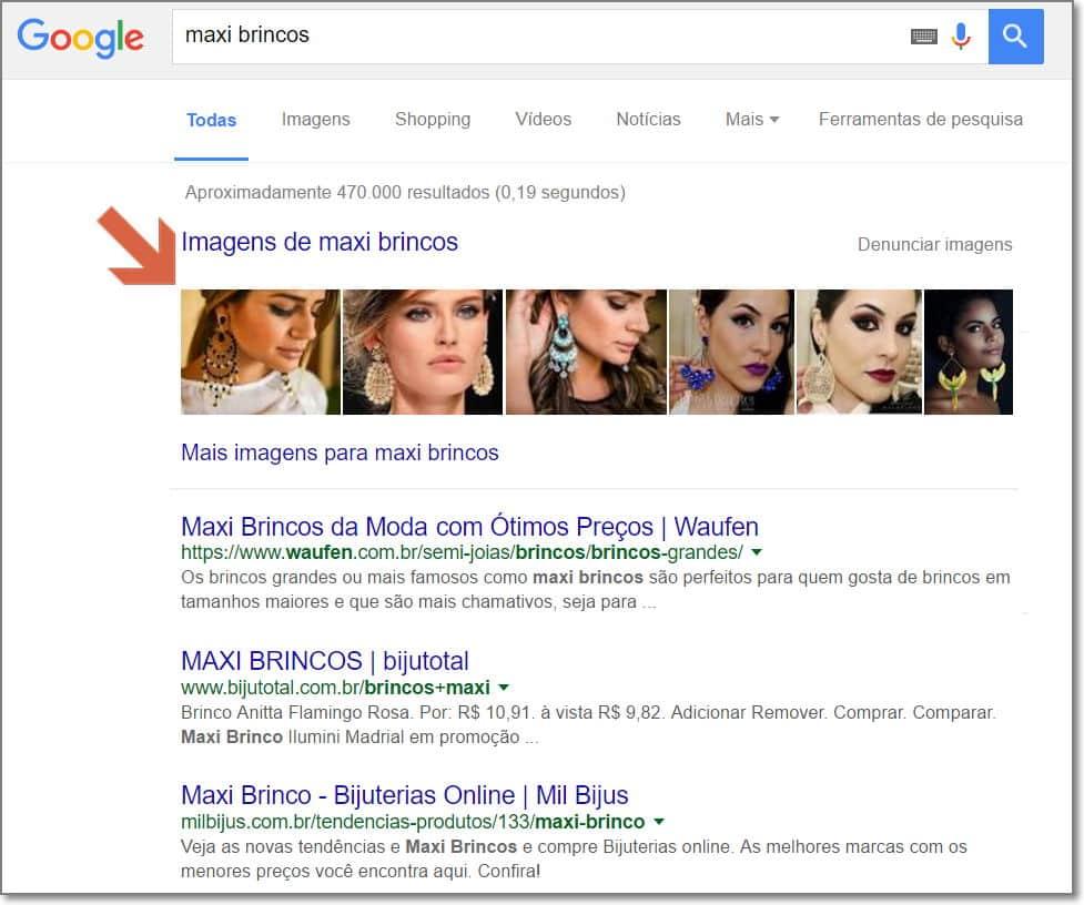 Imagens exibidas na primeira colocação no google