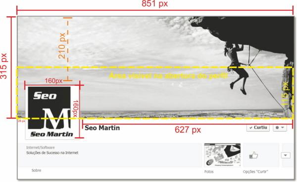 Imagem com as Dimensões de Capa de Facebook