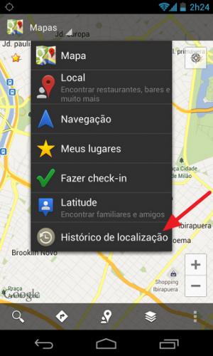 Ativando o histórico de localização no Android