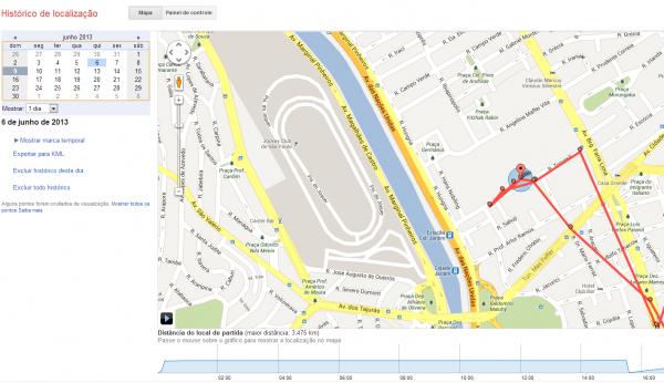 visualizando o histórico de localização no google maps