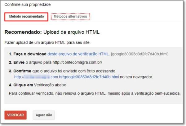 Confirme a propriedade de seu site no Google