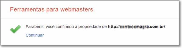 Confirmação de propriedade no Google Webmaster Tools