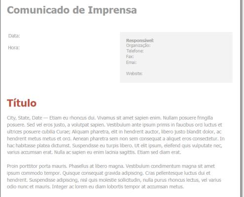 Modelo de Comunicado de Imprensa