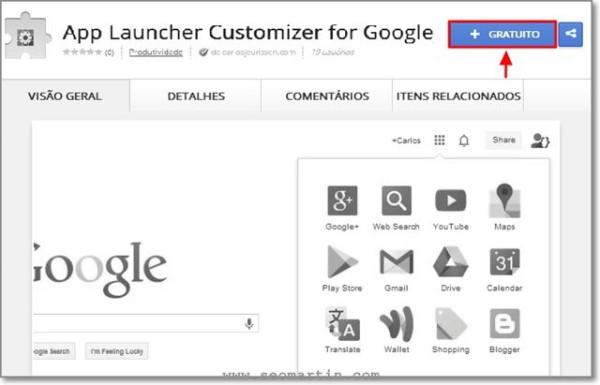 instalar App Launcher Customizer for Google