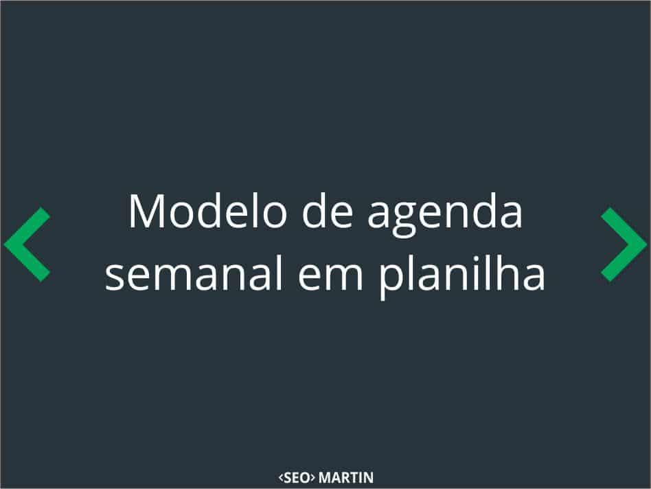 Modelo de Agenda Semanal em Planilha para Download
