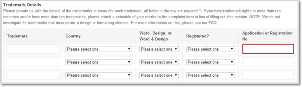 Google Trademark Complaint Form