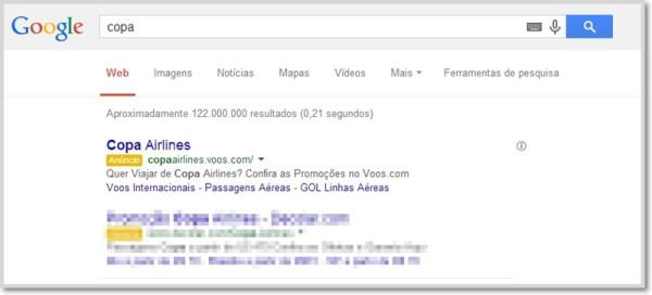 Pesquisa por Copa no Google