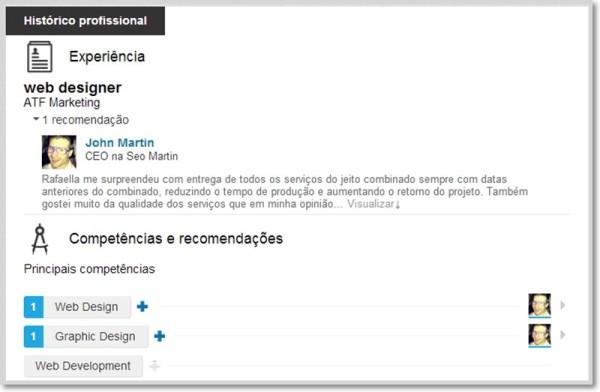 recomendações no perfil linkedin