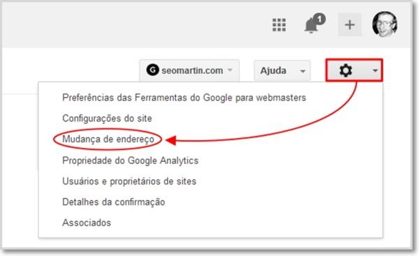 Mudança de endereço no Google Webmaster Tools
