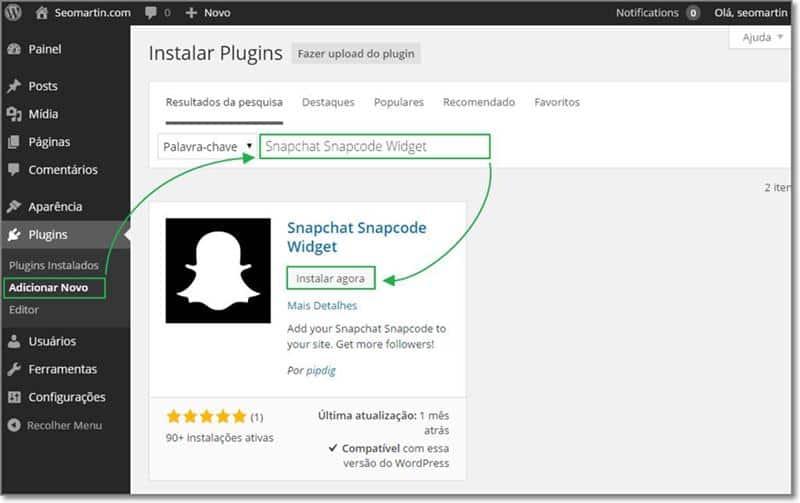 Instale Snapchat widget