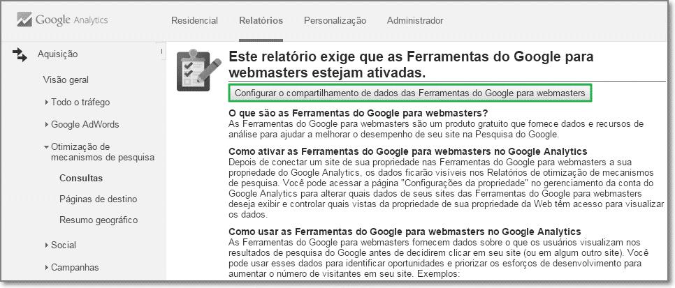 Configurar o compartilhamento de dados das Ferramentas do Google para webmasters
