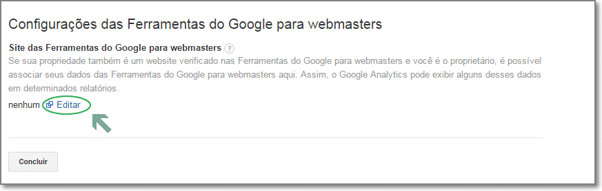 associar seus dados webmaster tools