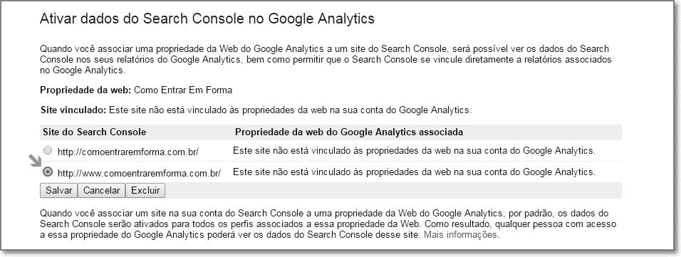 associar o site do webmaster tools n o analytics