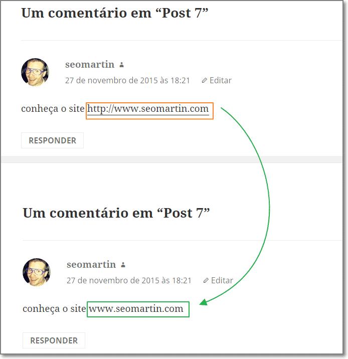 desabilitação do autolink no comentário do wordpress