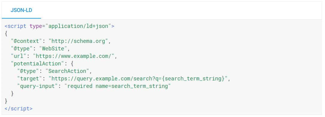 JSON-LD para Sitelinks Search Box