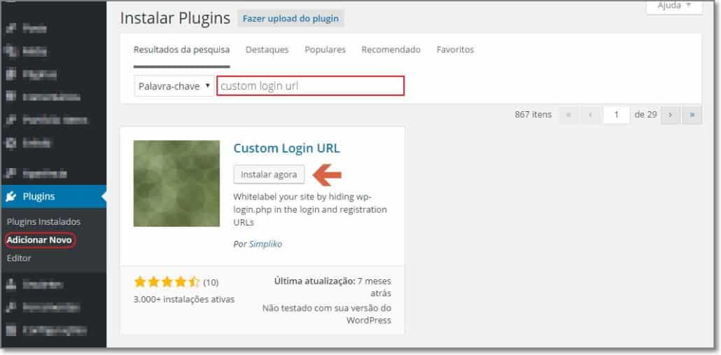 Instalar plugin custom login url para wordpress